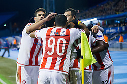 Players of FC Olympiakos celebrate during football match between GNK Dinamo Zagreb and Olympiakos in Group F of Group Stage of UEFA Champions League 2015/16, on October 20, 2015 in Stadium Maksimir, Zagreb, Croatia. Photo by Urban Urbanc / Sportida