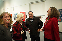 From right, Katy Castagna, president and CEO of United Way Monterey County, José Arreola, community safety administrator for the City of Salinas, and Monterey County Superintendent of Schools Nancy Kotowski share a moment at the December 5th, 2017 opening of the Stories from Salinas exhibition at the CSUMB Salinas Center for Arts and Culture in Oldtown. The exhibition celebrates the mentors, youth and families of the Salinas Youth Initiative.