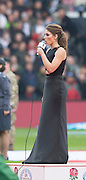 Twickenham, Great Britain, Pre game National Anthems, NZL. singer Lizzie MARVELLY.  QBE Autumn Internationals, England vs New Zealand, RFU Stadium Twickenham, Surrey.  Saturday  08/11/2014 [Mandatory Credit; Peter SPURRIER/Intersport Images]