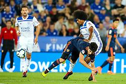 Hamza Choudhury of Leicester City tackles Carlos Soler of Valencia - Mandatory by-line: Robbie Stephenson/JMP - 01/08/2018 - FOOTBALL - King Power Stadium - Leicester, England - Leicester City v Valencia - Pre-season friendly
