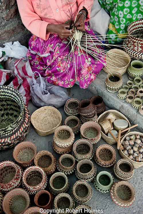 Tarahumara crafts on sale on the rim of the Copper Canyon, Mexico