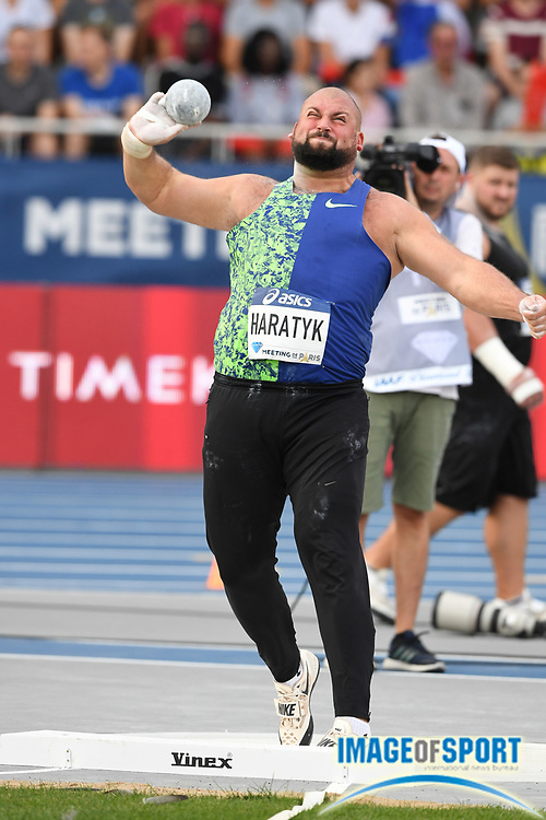 Michal Haratyk (POL) places fourth in the shot put at 70-¼ (21.34m) during the Meeting de Paris, Saturday, Aug. 24, 2019, in Paris. (Jiro Mochizuki/Image of Sport via AP)