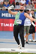 Michal Haratyk (POL) places fourth in the shot put at 70-¼ (21.34m) during the Meeting de Paris, Saturday, Aug. 24, 2019, in Paris. (Jiro Mochizuki/Image of Sport via AP)
