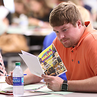 Zach Carnell who will be teaching at Tupelo Middle School in the fall joins other new teachers in an orientation class at Rankin Elementary School on Wednesday.