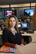 NITV Australian National Indigenous Television Story.<br /> NITV Station Mananger Tanya Denning speaks to marketing mananger on the NITV news production floor of the Sydney office.