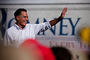 """Republican presidential candidate Mitt Romney takes his campaign on the road with his """"Every Town Counts"""" bus tour. Romney greets supporters in Cornwall, Pennsylvania."""