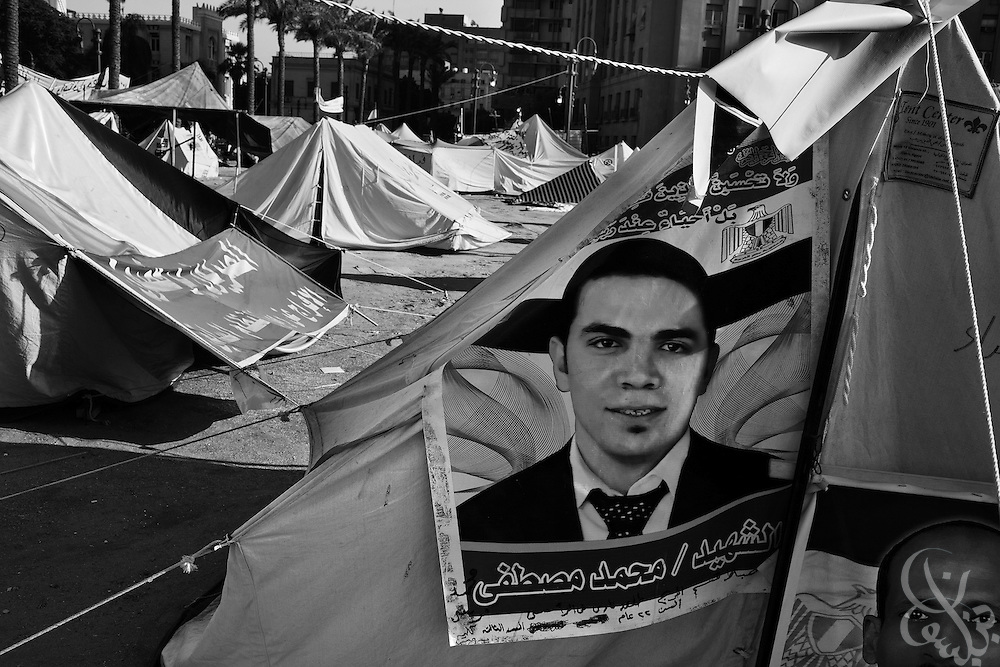 Images of martyrs killed during the Jan 25 revolution adorn tents in Tahrir Square in Cairo, Egypt July 27,2011. Nearly six months after the Jan 25 revolution, many activists, families of martyrs and victims occupying the square are still struggling to obtain justice and continue with the goals they set out to achieve. (Photo by Scott Nelson for Stern)
