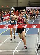 Feb 10, 2018; Boston, Massachussetts, USA; Dalton Hengst celebrates after winning the junior boys mile in 4:10.57 during the New Balance Indoor Grand Prix at Reggie Lewis Center.