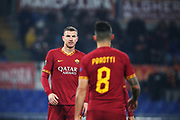Edin Dzeko of Roma celebrates with Diego Perotti after scoring 2-1 goal during the UEFA Europa League, Group J football match between AS Roma and Wolfsberg AC on December 12, 2019 at Stadio Olimpico in Rome, Italy - Photo Federico Proietti / ProSportsImages / DPPI