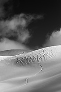 Black and White image of a lone snowboard track down a fresh face of deep untouched snow on a perfect day in the Whistler Backcountry, in the Callaghan snowmobile zone