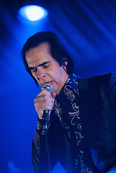 Frontman Nick Cave, of Nick Cave and the Bad Seeds, performs on stage tonight at The Barrowlands, Glasgow, Scotland.<br /> &copy;Michael Schofield.