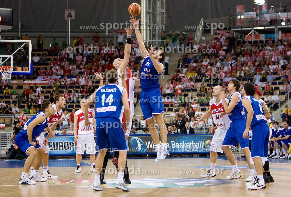 Marcin Gortat of Poland vs Nenad Krstic of Serbia during the EuroBasket 2009 Group F match between Poland and Serbia, on September 12, 2009 in Arena Lodz, Hala Sportowa, Lodz, Poland.  (Photo by Vid Ponikvar / Sportida)