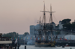 May 26, 2019 - Nantes, France - The replica of the French frigate L'Hermione, that transported General La Fayette to America in 1780 to rally US rebels battling for independence, arrives to the western city of Nantes during the ''Debord de Loire'' festival, on May 25, 2019. The second edition of the ''Debord de Loire'' festival takes place from May 23 to May 26, 2019, in 16 cities along the Loire estuary. (Credit Image: © Estelle Ruiz/NurPhoto via ZUMA Press)