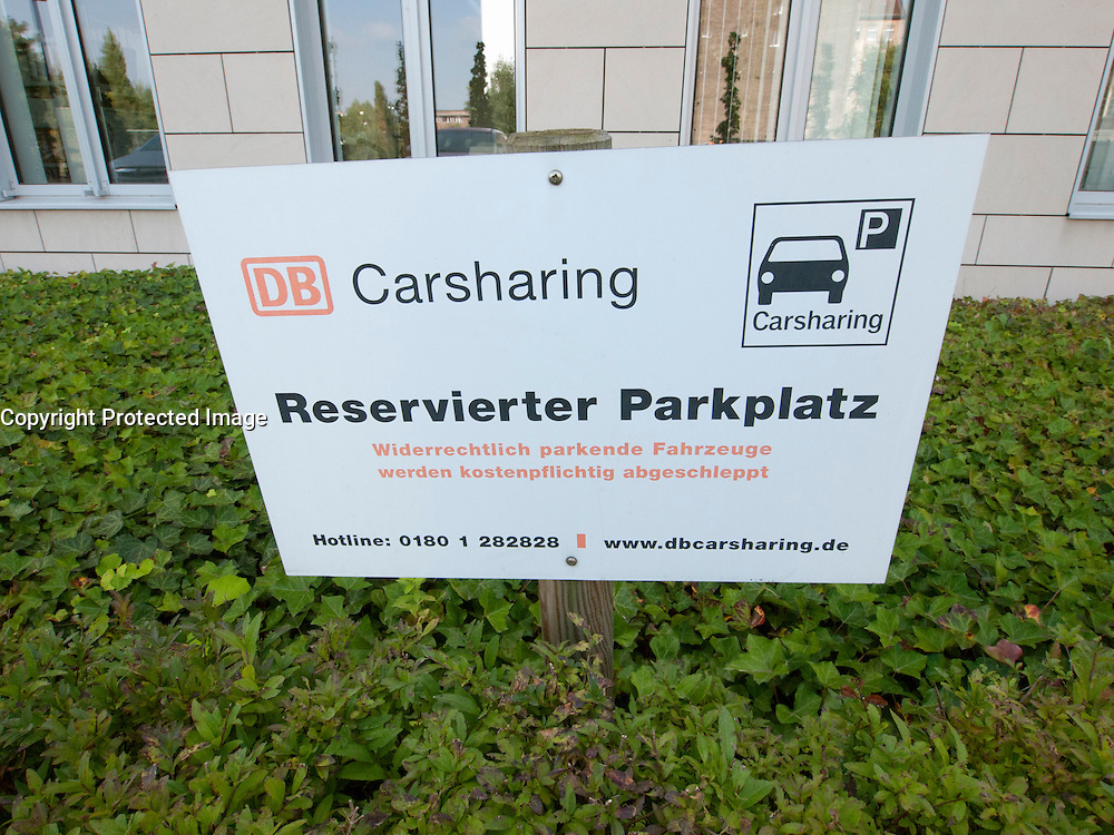 Carsharing parking place at DB or Deutsche Bahn car park in Berlin Germany