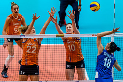 19-10-2018 JPN: Semi Final World Championship Volleyball Women day 18, Yokohama<br /> Serbia - Netherlands / Nicole Koolhaas #22 of Netherlands, Lonneke Sloetjes #10 of Netherlands, Tijana Boskovic #18 of Serbia