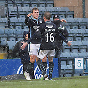 Greg Stewart celebrates his goal with David Clarkson -  Dundee v Motherwell, SPFL Premiership at Dens Park <br /> <br /> <br />  - &copy; David Young - www.davidyoungphoto.co.uk - email: davidyoungphoto@gmail.com