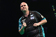 Rob Cross wins leg and celebrates during the PDC Premier League Darts at Arena Birmingham, Birmingham, United Kingdom on 25 April 2019.