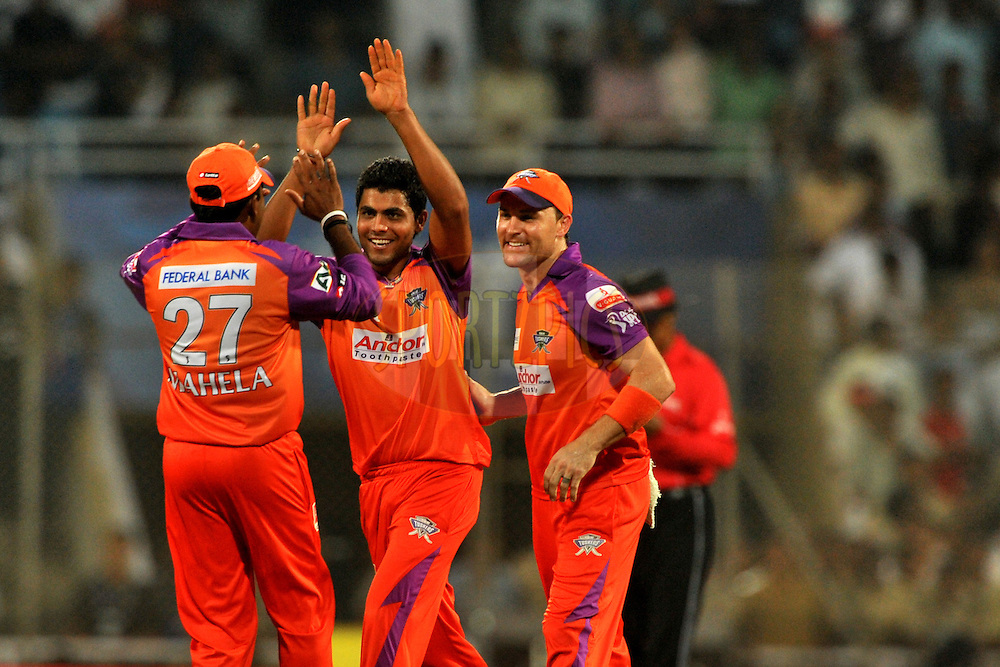 Ravindra Jadeja of Kochi Tuskers Kerala celebrate the wicket of Graeme Smith of Pune Warriors India during  match 10 of the Indian Premier League ( IPL ) Season 4 between the Pune Warriors and the Kochi Tuskers Kerala held at the Dr DY Patil Sports Academy, Mumbai India on the 12th April 2011..Photo by Pal Pillai /BCCI/SPORTZPICS