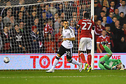 Fulham midfielder Yohan Mollo(22) celebrates after scoring the Cottagers go 1-2 up during the EFL Sky Bet Championship match between Nottingham Forest and Fulham at the City Ground, Nottingham, England on 26 September 2017. Photo by Jon Hobley.