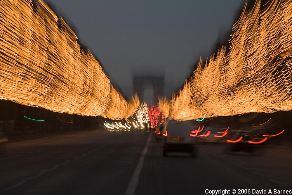 Christmas light along the Champs Elysees, Arc de Triomphe, Paris, France