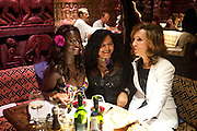 PRINCESS SHAHEERA ASANTE; DR. JUNE BAM; LYNETTE ESPOSITO, Opening of London's largest South african restaurant: Shaka Zulu. Stables amrket. Camden. London. 4 August 2010. <br /> -DO NOT ARCHIVE-© Copyright Photograph by Dafydd Jones. 248 Clapham Rd. London SW9 0PZ. Tel 0207 820 0771. www.dafjones.com.