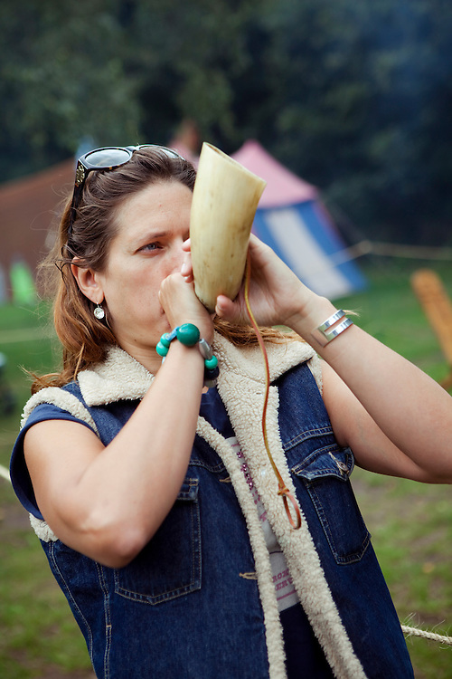 Antonia having a go with a hunting horn, Sherwood Forest