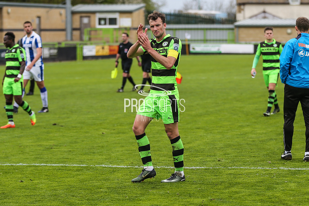 Forest Green Rovers Christian Doidge(9) claps the fans at the end of the match during the Vanarama National League match between Forest Green Rovers and Chester FC at the New Lawn, Forest Green, United Kingdom on 14 April 2017. Photo by Shane Healey.