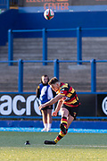 Carmarthen Quins' outside half Jac Wilson kicks a conversion.<br /> <br /> Cardiff Arms Park, Cardiff, Wales, UK - Saturday 19th October, 2019.<br /> <br /> Images from the Indigo Welsh Premiership rugby match between Cardiff RFC and Carmarthen Quins RFC. <br /> <br /> Photographer Dan Minto<br /> <br /> mail@danmintophotography.com <br /> www.danmintophotography.com