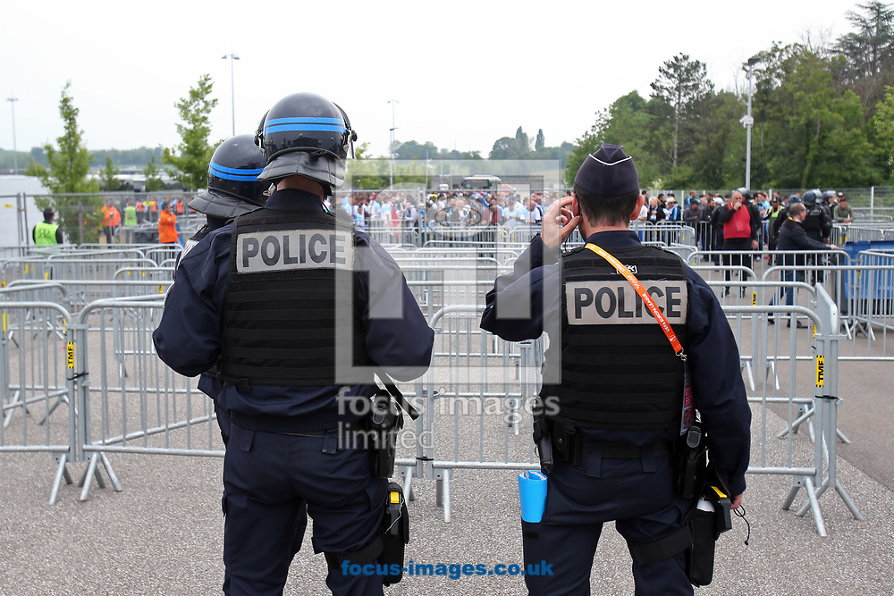 A heavy Police presence keep an eye on the Marseille fans before the UEFA Europa League Final match at Stade de Lyons, Lyons<br /> Picture by Paul Chesterton/Focus Images Ltd +44 7904 640267<br /> 16/05/2018