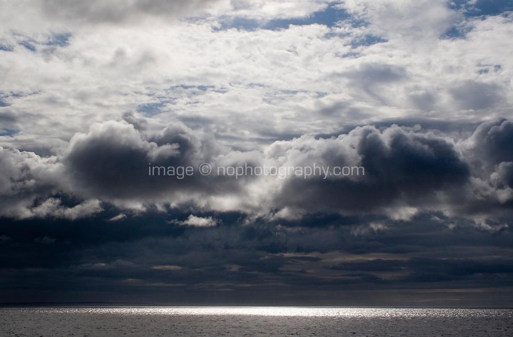 Storm clouds over the Aran Islands in Galway Ireland