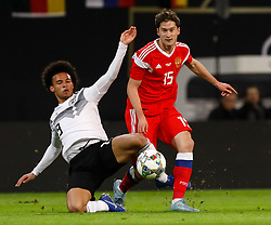 November 15, 2018 - Leipzig, Germany - Leroy Sane (L) of Germany and Alexey Miranchuk of Russia vie for the ball during the international friendly match between Germany and Russia on November 15, 2018 at Red Bull Arena in Leipzig, Germany. (Credit Image: © Mike Kireev/NurPhoto via ZUMA Press)