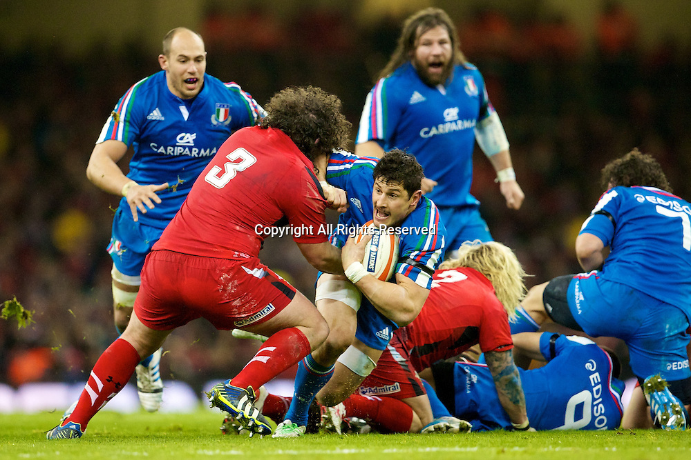 01.02.2014 Cardiff, Wales. Wales prop Adam Jones (Ospreys) during the Six Nations game between Wales and Italy from the Millennium Stadium.