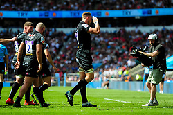 Jonny Hill of Exeter Chiefs celebrates scoring his sides third try of the game  - Mandatory by-line: Ryan Hiscott/JMP - 01/06/2019 - RUGBY - Twickenham Stadium - London, England - Exeter Chiefs v Saracens - Gallagher Premiership Rugby Final