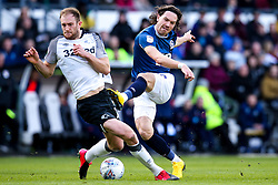 Sam Gallagher of Blackburn Rovers has a shot blocked by Matthew Clarke of Derby County - Mandatory by-line: Robbie Stephenson/JMP - 08/03/2020 - FOOTBALL - Pride Park Stadium - Derby, England - Derby County v Blackburn Rovers - Sky Bet Championship