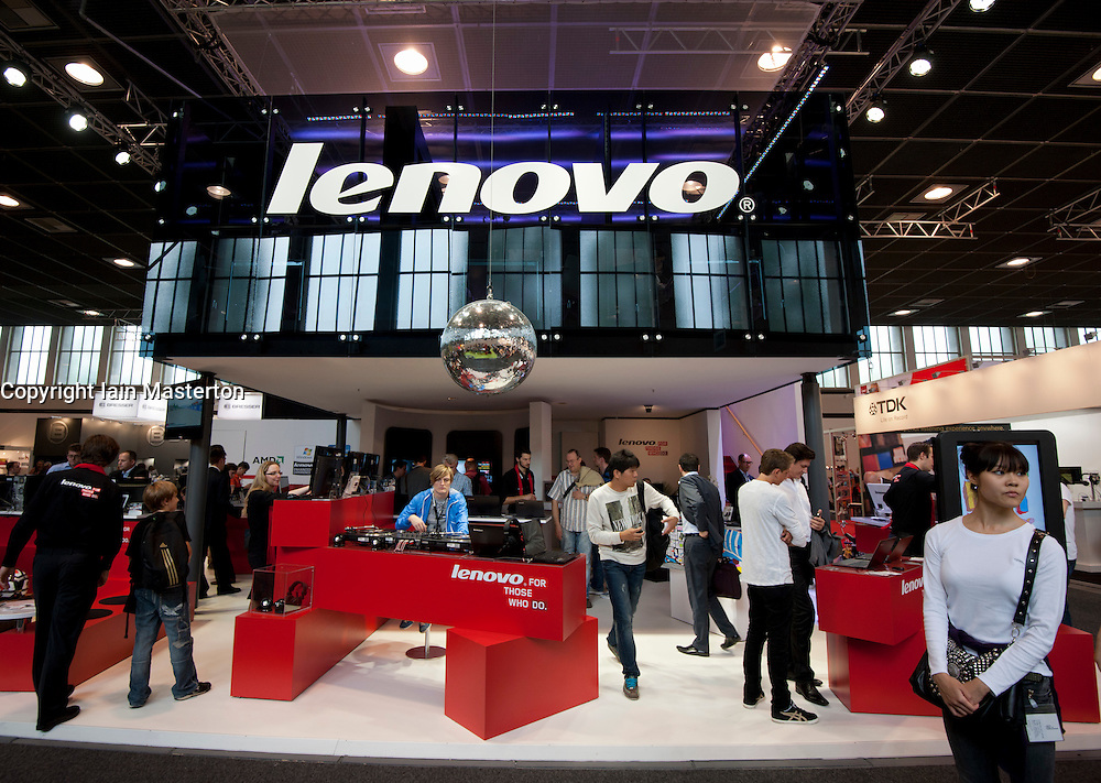 Lenovo stand at IFA consumer electronics trade fair in Berlin Germany 2011