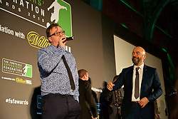 LONDON, ENGLAND - Tuesday, December 8, 2015: The Anfield Warp's Neil Atkinson gives an acceptance speech after receiving the Podcast of the Year Award during at the Football Supporters' Federation Awards Dinner 2015 at the St. Pancras Renaissance Hotel. (Pic by David Rawcliffe/Propaganda)