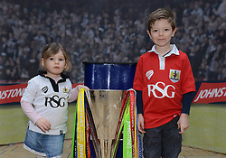 Young Bristol City fans with the Johnstone Paint Trophy - Photo mandatory by-line: Dougie Allward/JMP - Mobile: 07966 386802 - 11/03/2015 - SPORT - Football - Bristol - Cabot Circus Shopping Centre - Johnstone's Paint Trophy