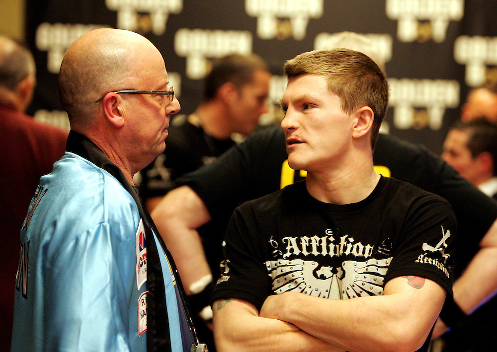 Ricky Hatton and Kerry Kayes in the dressing room before the fight. Ricky Hatton v Floyd Mayweather, Las Vegas, Nevada.