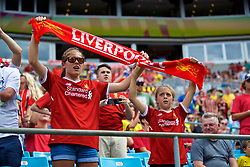 CHARLOTTE, USA - Sunday, July 22, 2018: Liverpool supporters hold up a scarf before a preseason International Champions Cup match between Borussia Dortmund and Liverpool FC at the  Bank of America Stadium. (Pic by David Rawcliffe/Propaganda)
