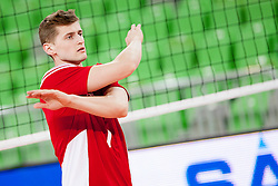 Piotr Nowakowski #1 of Poland before volleyball match between National teams of Slovenia and Poland in 4th Qualification game of CEV European Championship 2015 on May 23, 2014 in Arena Stozice, Ljubljana, Slovenia. Photo by Urban Urbanc / Sportida