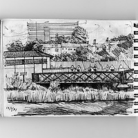 Sketchbook scene of iron bridge crossing river Exe in Exeter, Devon, England