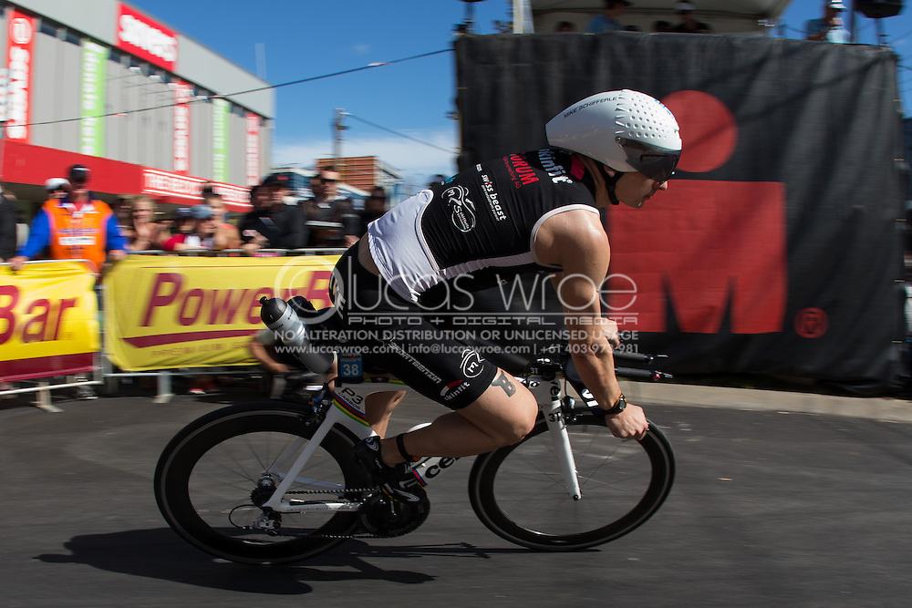 Mike SCHIFFERLE (AUS). Ironman Asia Pacific Championship Melbourne. Triathlon. Frankston And St Kilda, Melbourne, Victoria, Australia. 24/03/2013. Photo By Lucas Wroe