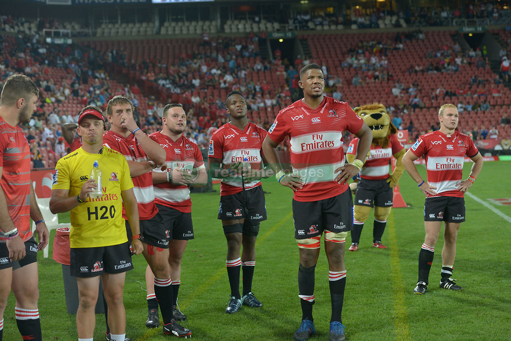 070418 Emirates Airlines Park, Ellis Park, Johannesburg, South Africa. Super Rugby. Lions vs Stormers. On the sidelines, the Lions watch the bigscreen during the closing minutes of the game.<br />Picture: Karen Sandison/African News Agency (ANA)