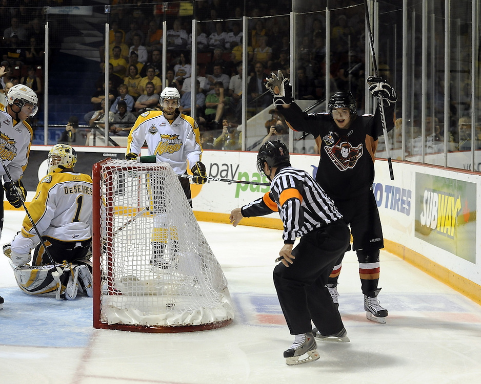 Kris Foucault of the Calgary Hitmen celebrates a goal in Game 6 of the 2010 MasterCard Memorial Cup in Brandon, MB on Wednesday May 19, 2010. Photo by Aaron Bell/CHL Images