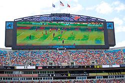 CHARLOTTE, USA - Sunday, July 22, 2018: A huge TV screen during a preseason International Champions Cup match between Borussia Dortmund and Liverpool FC at the  Bank of America Stadium. (Pic by David Rawcliffe/Propaganda)