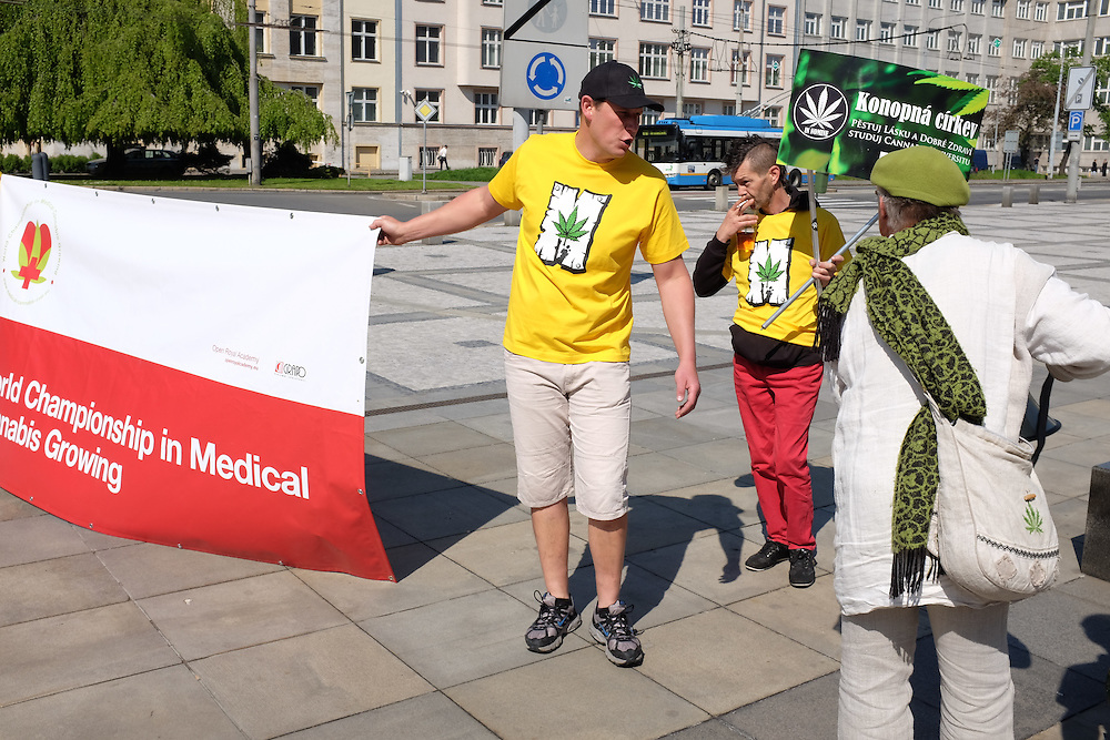 Supporters preparing for the first Million Marijuana March to be organized in Ostrava, Czech Republic, supporting the legalization of marijuana.