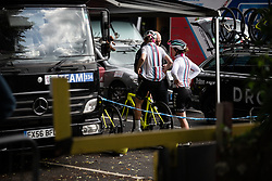 Drops Cycling Team riders prepare for Stage 6 of 2019 OVO Women's Tour, a 125.9 km road race from Carmarthen to Pembrey, United Kingdom on June 15, 2019. Photo by Balint Hamvas/velofocus.com