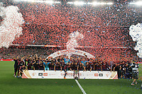 Barcelona´s players celebrate after winning the 2014-15 Copa del Rey final match between Barcelona and Athletic de Bilbao at Camp Nou stadium in Barcelona, Spain. May 30, 2015. (ALTERPHOTOS/Victor Blanco)