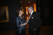 Joan Bakewell and David Hockney. Dinner at the opening of Degas, Sickert and Toulouse-Lautrec. Tate Britain. Pimlico, London.  London. 3 October 2005. . ONE TIME USE ONLY - DO NOT ARCHIVE © Copyright Photograph by Dafydd Jones 66 Stockwell Park Rd. London SW9 0DA Tel 020 7733 0108 www.dafjones.com
