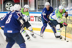 Jonathan Janil of France vs Jan Mursak of Slovenia during the 2017 IIHF Men's World Championship group B Ice hockey match between National Teams of France and Slovenia, on May 15, 2017 in AccorHotels Arena in Paris, France. Photo by Vid Ponikvar / Sportida